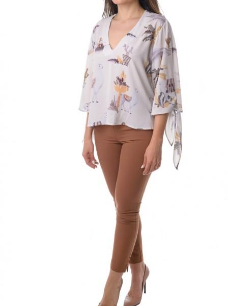 Εκρού κοντό πουκάμισο με τύπωμα White22