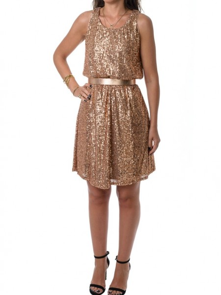 Χρυσό κοντό αμάνικο φόρεμα από παγιέτα White 22