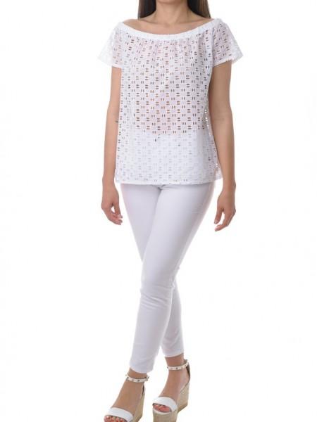 Λευκή κοντομάνικη μπλούζα από κοφτή δαντέλα Zazu